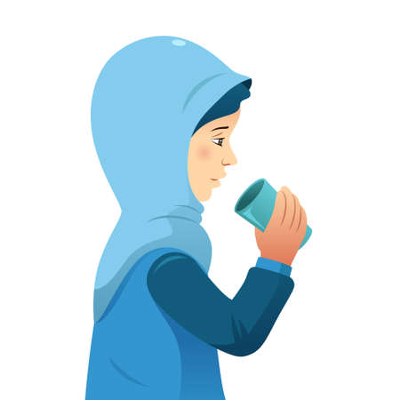 A vector illustration of Muslim Woman Drinking From a Cup