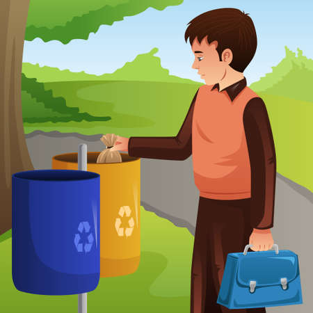 A vector illustration of Young Man Throwing Trash Into Garbage Can Banque d'images - 109627651