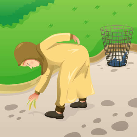 A vector illustration of Muslim Woman Picking Up Trash