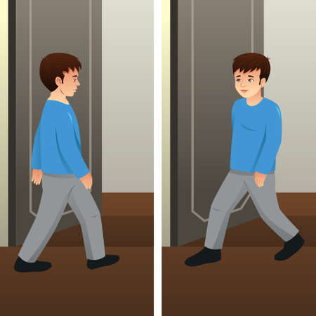 A vector illustration of Young Man Walking