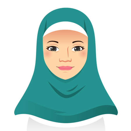 A vector illustration of Portrait of Beautiful Muslim Woman