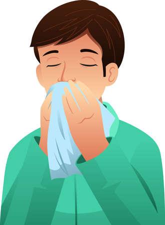 Eine Vektorillustration des kranken Mannes, der seine Nase auf einem Gewebe bläst