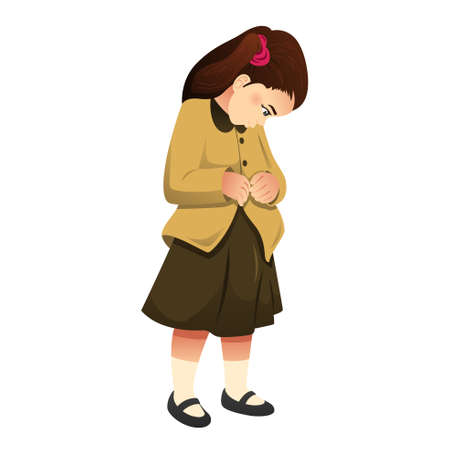 A vector illustration of Little Girl Buttoning Her Clothes Illustration