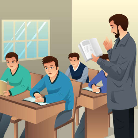 A vector illustration of College Students in Classroom