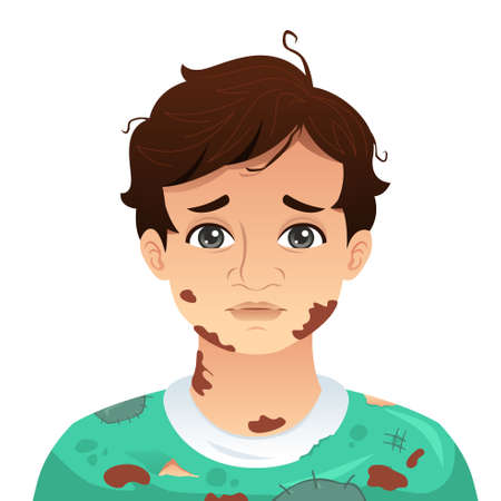 A vector illustration of Young Man With Dirty Mud Face Illustration