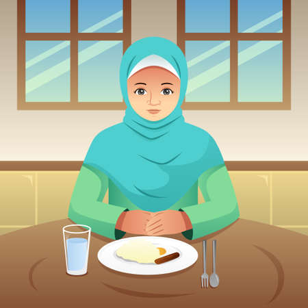 A vector illustration of Muslim Woman Eating Breakfast at Home Illustration