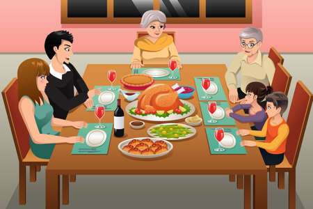 A vector illustration of Thanksgiving Family Dinner Ilustração