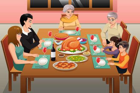 A vector illustration of Thanksgiving Family Dinner Illustration