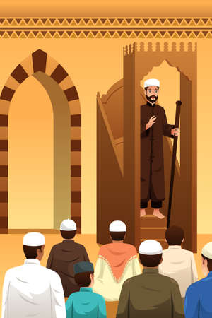A vector illustration of Muslims Praying in a Mosque Ilustração