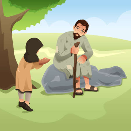 A vector illustration of Muslim Girl Giving Food to Homeless Man