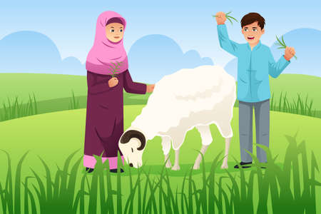 A vector illustration of Muslim Couple with Their Goat