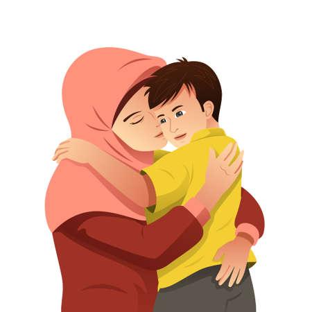 Una ilustración vectorial de madre musulmana abrazando a su hijo