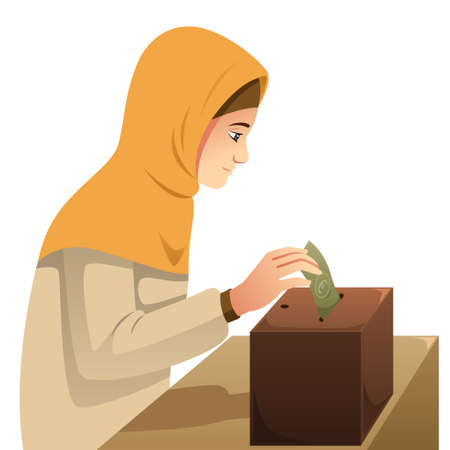 A vector illustration of Muslim Woman Making Money Donation Çizim