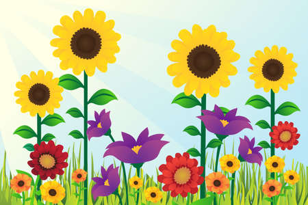 A vector illustration of Sunflowers Floral Design Background