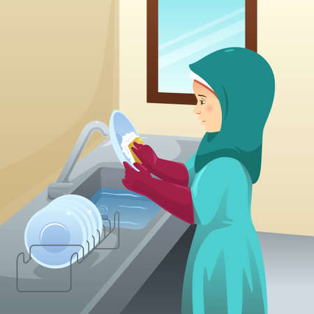A vector illustration of Muslim Woman Washing Dishes
