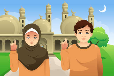 A vector illustration of Couple in Front of a Mosque Illustration