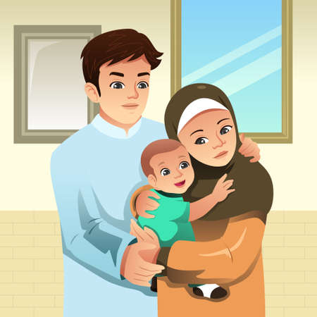 A vector illustration of Muslim Family at Home