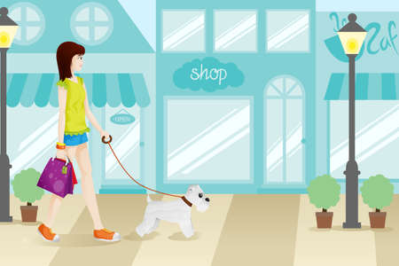 A vector illustration of Shopping Woman with Her Dog Illustration