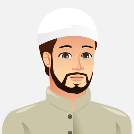 A vector illustration of Portrait of a Muslim Man