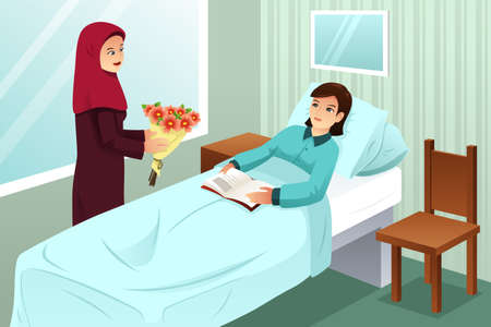 A vector illustration of Muslim Woman Visiting a Friend in the Hospital Illustration