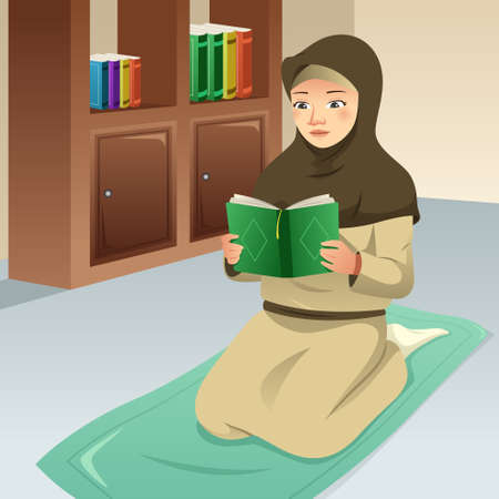 A vector illustration of Muslim Girl Praying and Reading Quran