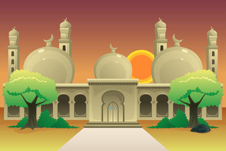 A vector illustration of Islamic Mosque at Dusk