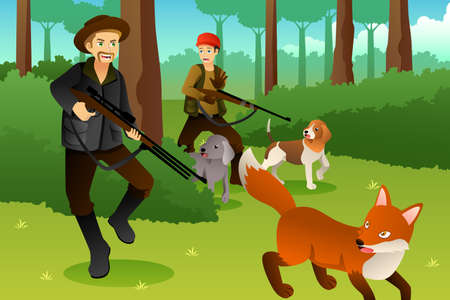 A vector illustration of Hunters With His Dogs Hunting a Fox