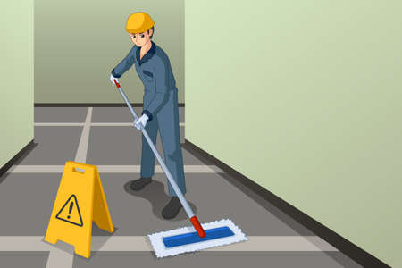 A vector illustration of Working Janitor Mopping the Floor Illustration