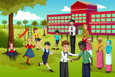 A vector illustration of Multi Ethnic and Diverse Students Playing in School Ilustração Vetorial