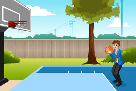 A vector illustration of Boy Playing Basketball in Backyard