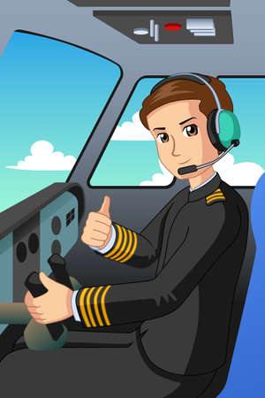 A vector illustration of Pilot of an Airplane