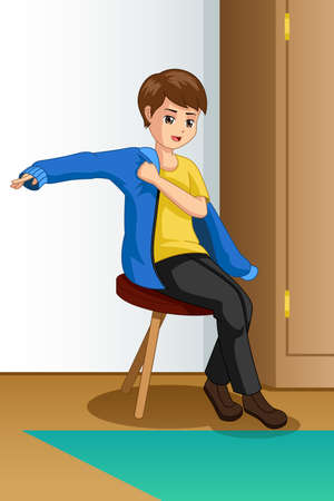 A vector illustration of Boy Wearing Clothes