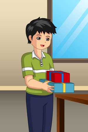 A vector illustration of Boy Carrying Gift Illustration