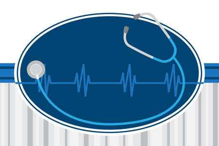 A vector illustration of Stethoscope and Hearbeat Healthcare Concept  イラスト・ベクター素材
