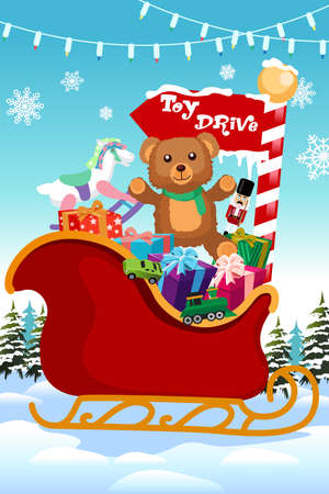 A vector illustration of Holiday Season Toy Drive