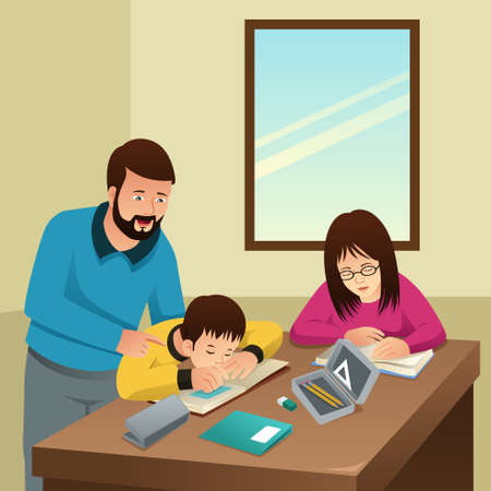 A vector illustration of Tired Kids Studying with Their Father at Home Illustration