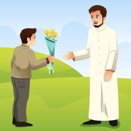 A vector illustration of Muslim Son Giving Flower to His Father