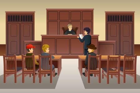 Eine Vektorillustration der Gerichtsszene