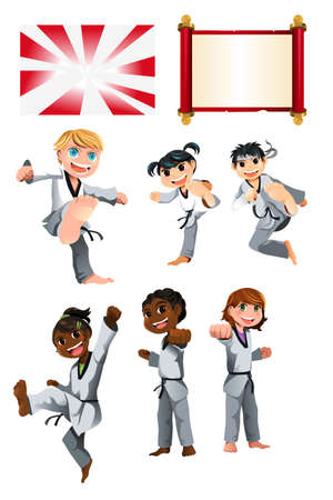 A vector illustration of Karate Taekwondo Kids