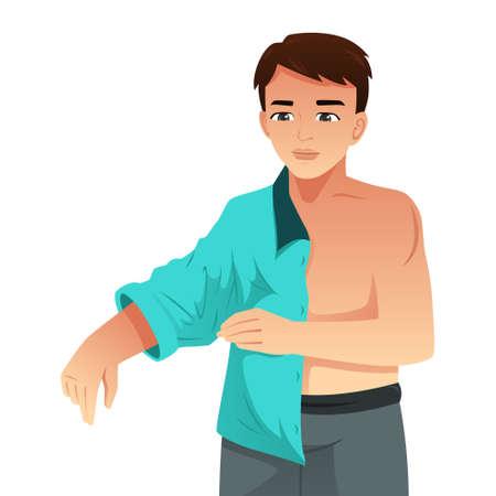 Una ilustración vectorial del hombre poniéndose la camisa
