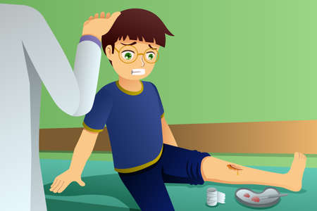 A vector illustration of Injured Kid in Doctor Office 일러스트