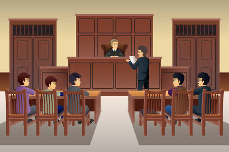A vector illustration of People in Court Scene Illustration
