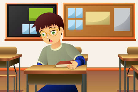 A vector illustration of Student in The Classroom