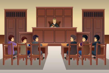 Eine Vektorillustration der Leute in der Gerichtsszene Vektorgrafik