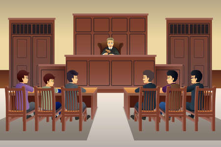Ilustracja wektorowa ludzi na scenie sądowej Ilustracje wektorowe