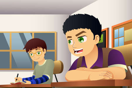 A vector illustration of Students in a Classroom