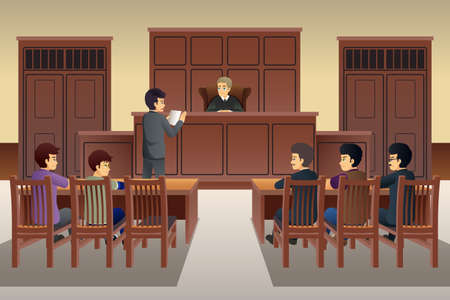 A vector illustration of People in Court Scene Illustration Illustration
