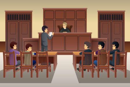 Un vecteur illustration de personnes en Cour Scène Illustration