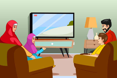 A vector illustration of Muslim Family Watching TV at Home 일러스트