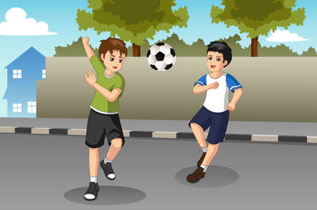 A vector illustration of Kids Playing Soccer on The Street